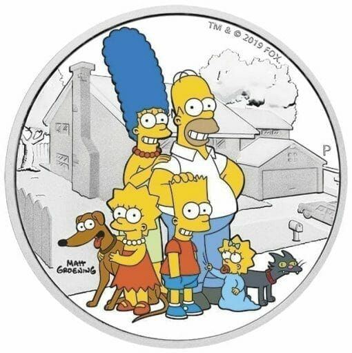 2019 The Simpsons Family Coloured 2oz .9999 Silver Proof Coin - The Perth Mint 1
