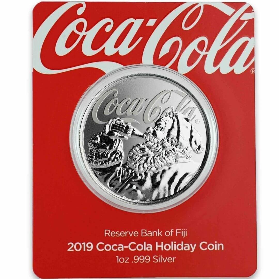 2019 1oz .999 Silver Coca-Cola Santa Holiday Coin - Limited Mintage Collectible 1