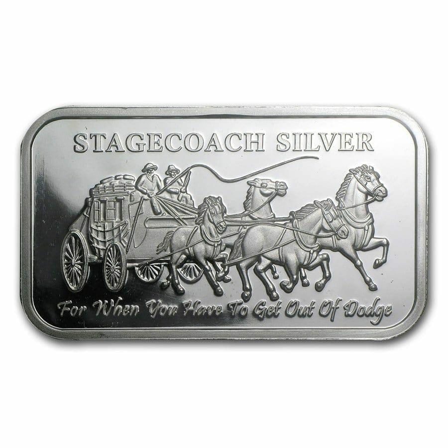 Stagecoach Silver 1oz .999 Silver Bullion Bar - 4 1/4oz Fractional - Northwest Territorial Mint 4