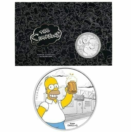 2019 The Simpsons Homer Simpson & Homer 2 Coin Set - Coloured 1oz & 1oz in Card - The Perth Mint 1