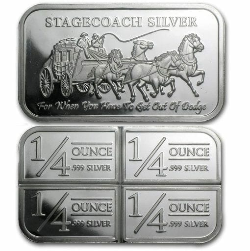 Stagecoach Silver 1oz .999 Silver Bullion Bar - 4 1/4oz Fractional - Northwest Territorial Mint 1