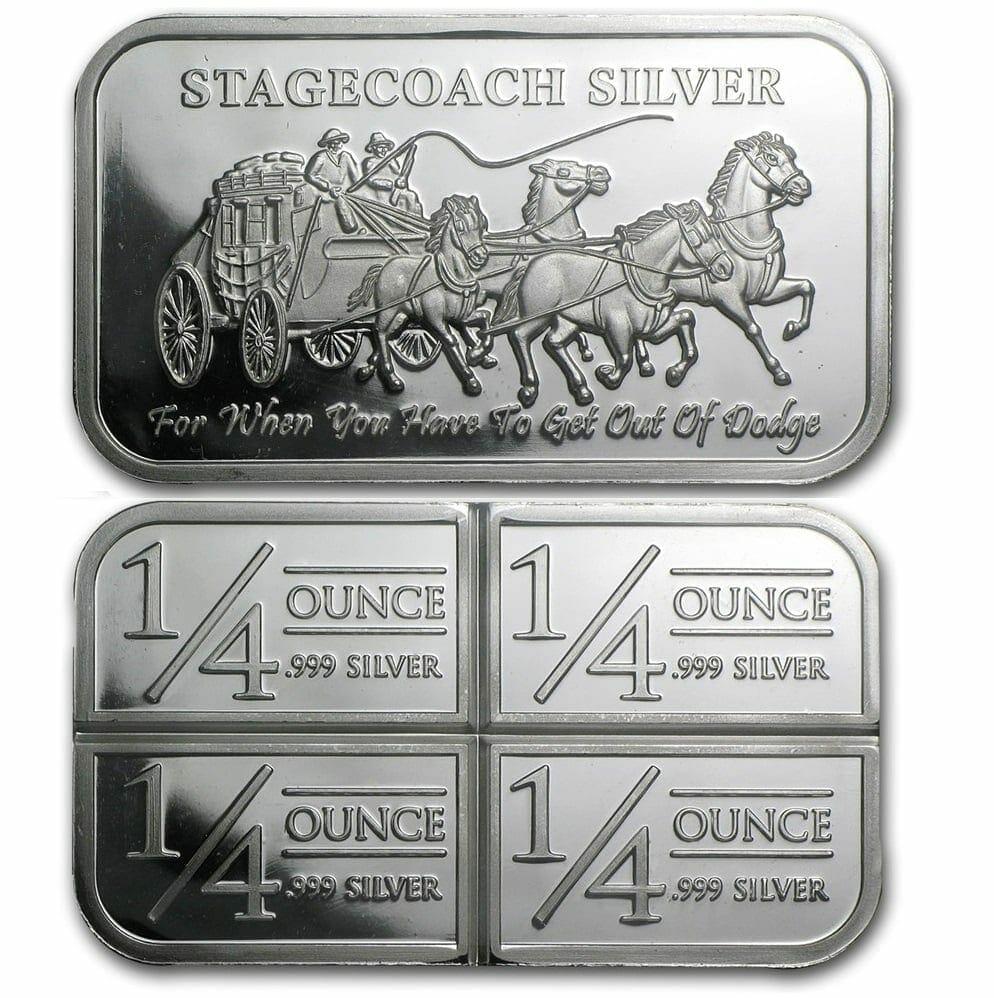 Stagecoach Silver 1oz .999 Silver Bullion Bar - 4 1/4oz Fractional - Northwest Territorial Mint 1