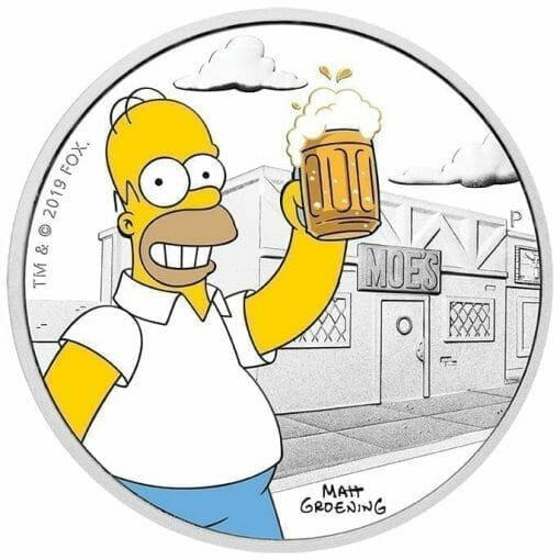 2019 The Simpsons Homer Simpson 1oz Silver Proof Coin 1