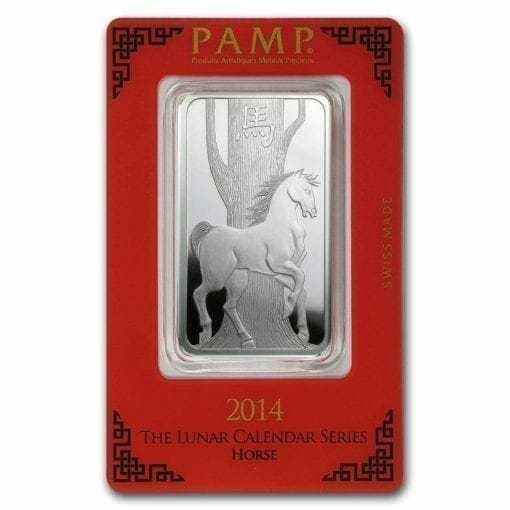 2014 Year of the Horse 1oz .999 Silver Minted Bullion Bar - Lunar Calendar Series - PAMP Suisse 1