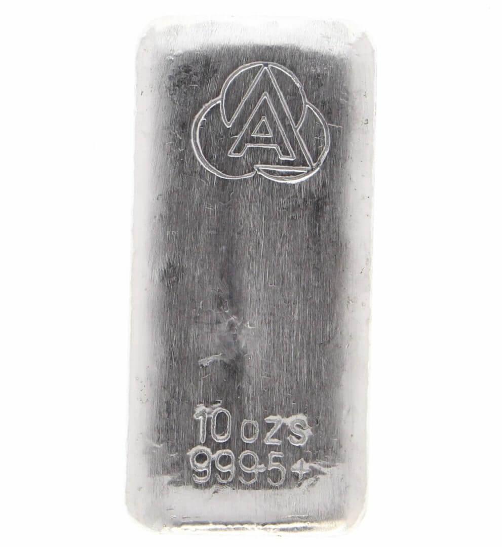 Ainslie Bullion 10oz .9995 Silver Cast Bullion Bar 1