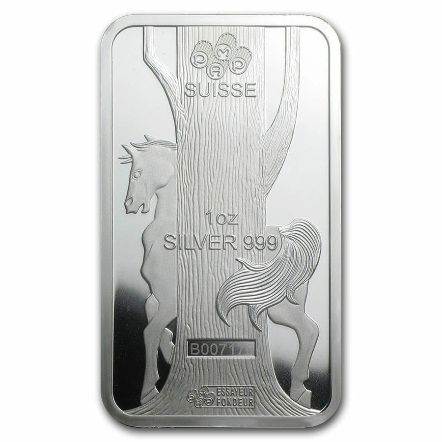 2014 Year of the Horse 1oz .999 Silver Minted Bullion Bar - Lunar Calendar Series - PAMP Suisse 4