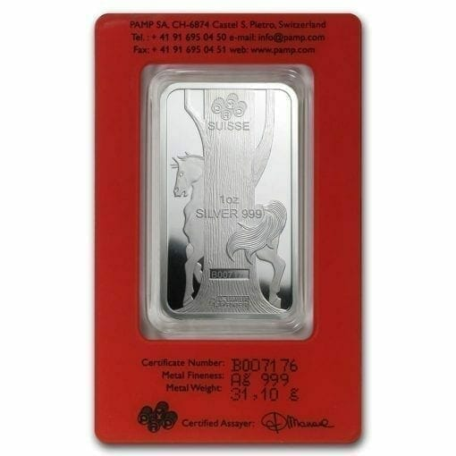 2014 Year of the Horse 1oz .999 Silver Minted Bullion Bar - Lunar Calendar Series - PAMP Suisse 2