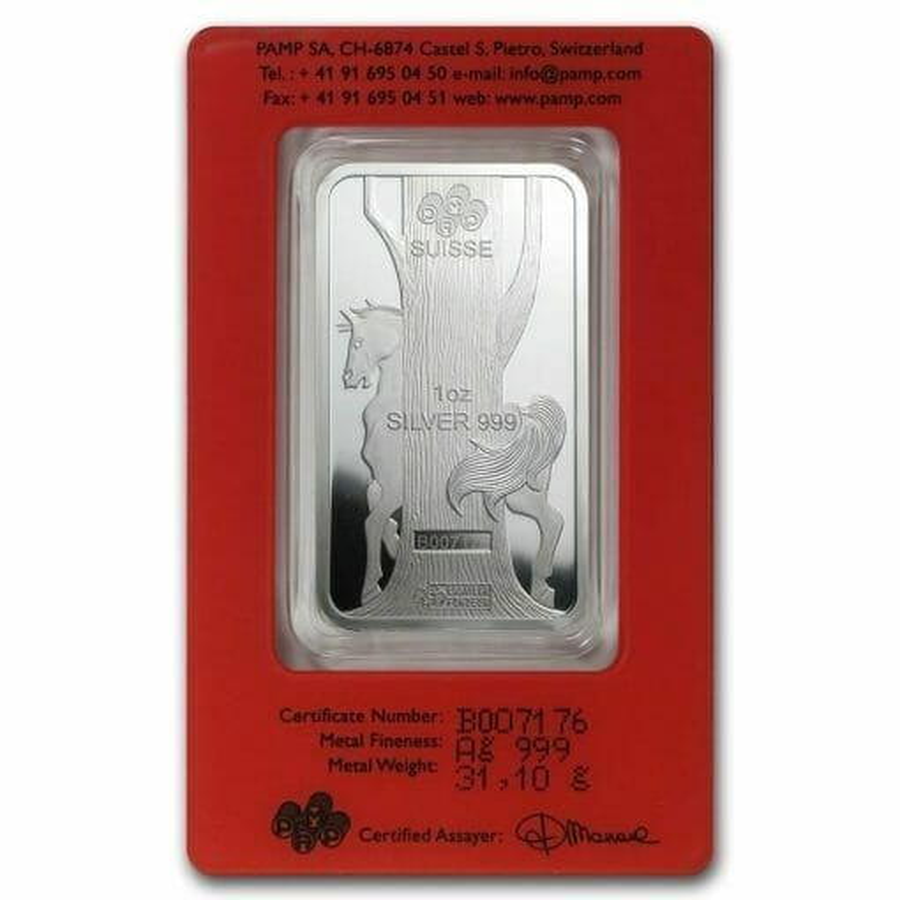 2014 Year of the Horse 1oz .999 Silver Minted Bullion Bar - Lunar Calendar Series - PAMP Suisse 2