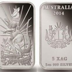 2014 Australian Kangaroo 5oz .999 Silver Minted Bullion Bar - XAG / AGSX 3