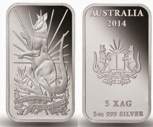 2014 Australian Kangaroo 5oz .999 Silver Minted Bullion Bar - XAG / AGSX 2