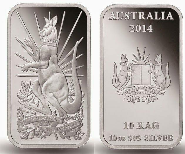 2014 Australian Kangaroo 10oz .999 Silver Minted Bullion Bar - XAG / AGSX 2