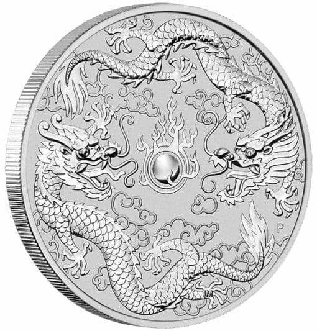 2019 1oz Australian Double Dragon .9999 Silver Coin 3