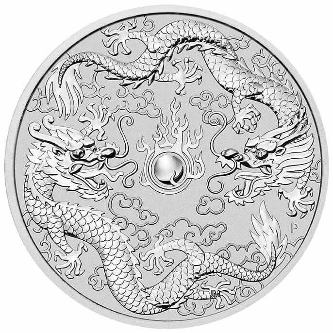2019 1oz Australian Double Dragon .9999 Silver Coin 1