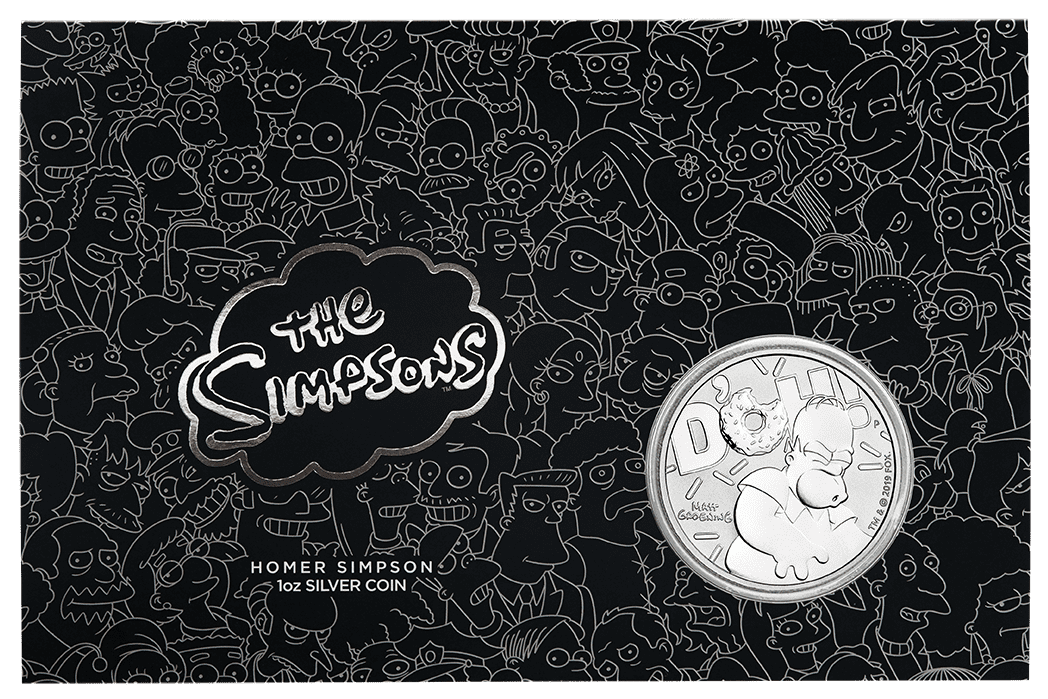 2019 The Simpsons - Bart & Homer 2 Silver Coin Set - Coloured 1oz & 1oz in Card 9