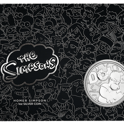 2019 The Simpsons - Bart & Homer 2 Silver Coin Set - Coloured 1oz & 1oz in Card 19