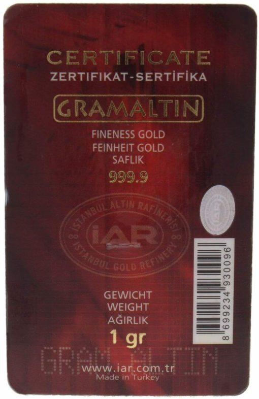 Istanbul Gold Refinery 1g .9999 Gold Minted Bullion Bar 2