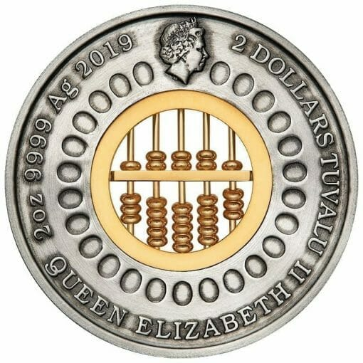 2019 Abacus 2oz Silver Antiqued Coin 2