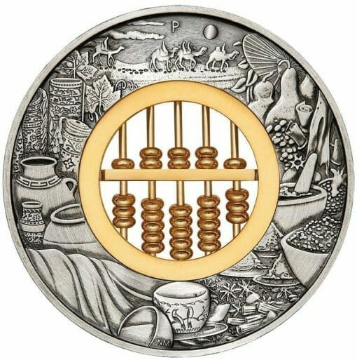 2019 Abacus 2oz Silver Antiqued Coin 1