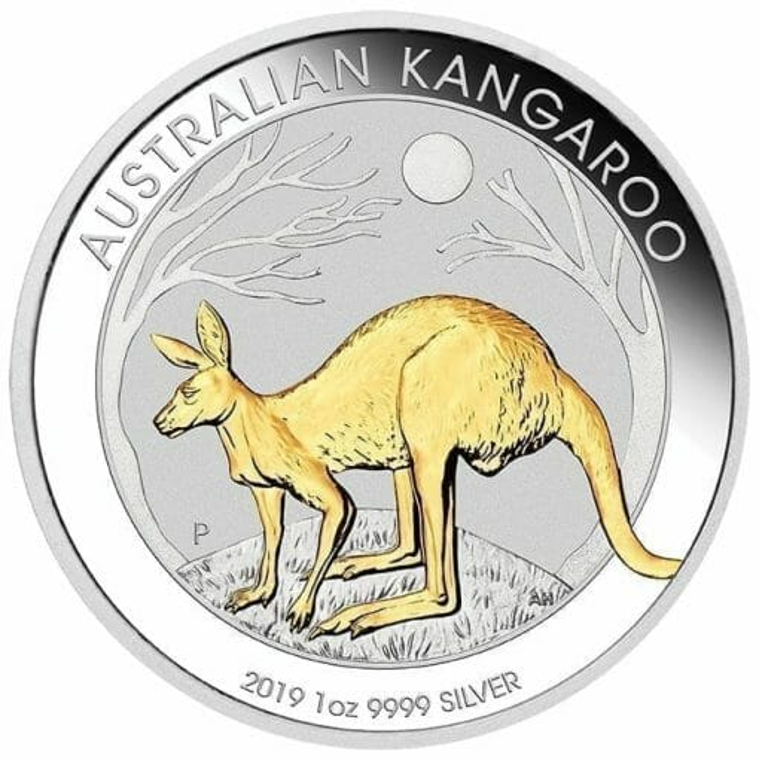 2019 Australian Kangaroo Gilded 1oz Silver Proof Coin 1