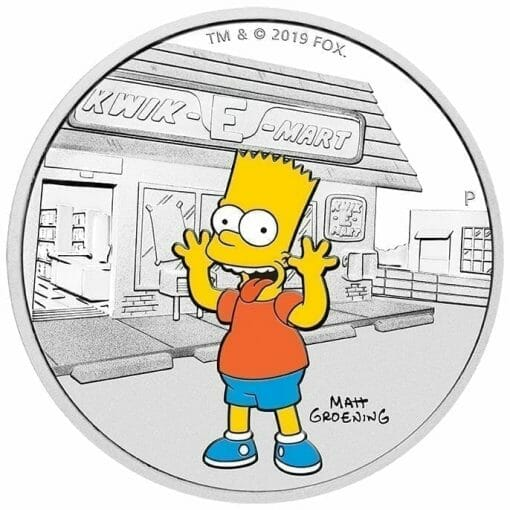 2019 The Simpsons - Bart Simpson 1oz .9999 Silver Proof Coin 1
