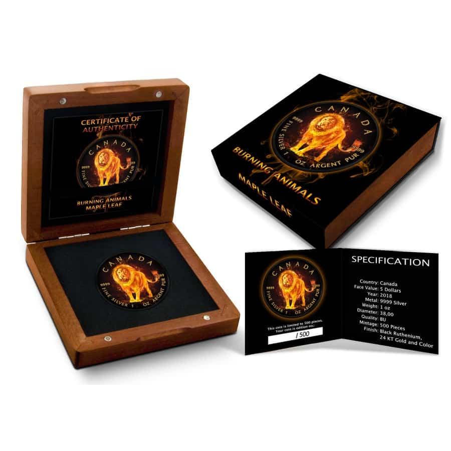 2018 Burning Animals - Lion Maple Leaf 1oz Silver Coin 5