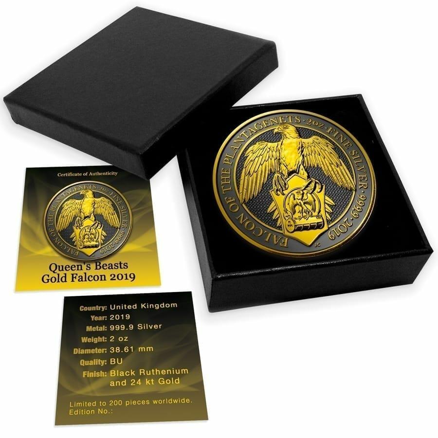 2019 Queens Beasts - The Falcon Black Ruthenium Gold Shadows 2oz Silver Coin 5