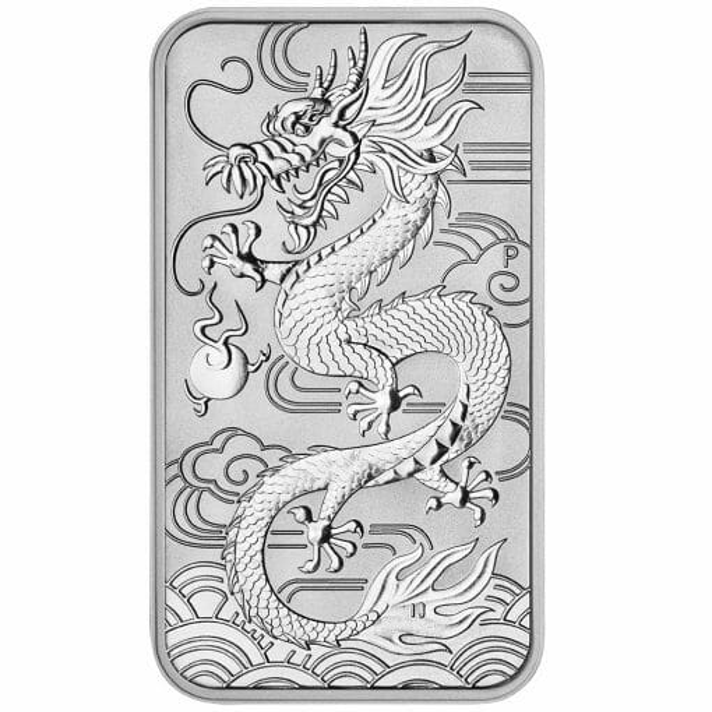 2018 Dragon 1oz .9999 Silver Bullion Rectangular Coin 1