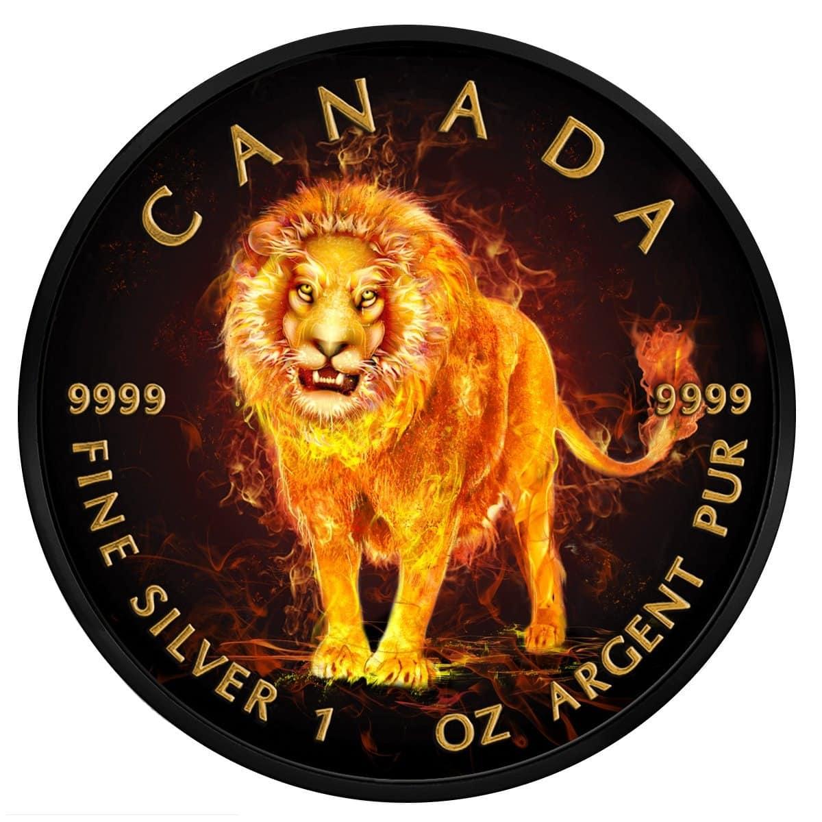 2018 Burning Animals - Lion Maple Leaf 1oz Silver Coin 1
