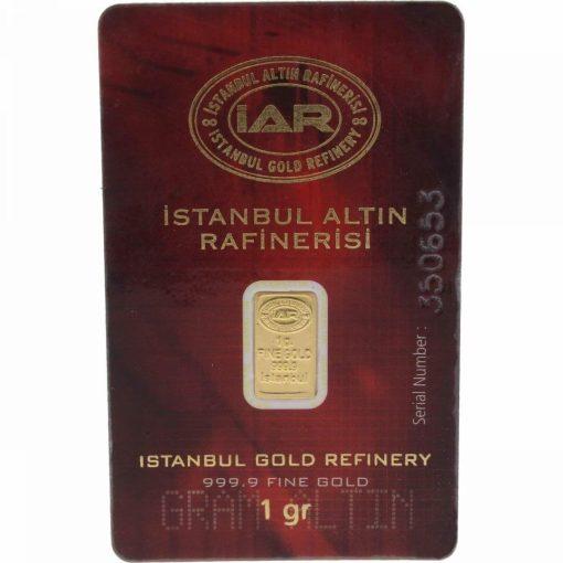 Istanbul Gold Refinery 1g .9999 Gold Minted Bullion Bar 1