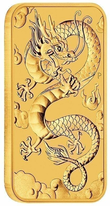 2019 Dragon 1oz Gold Bullion Rectangular Coin 2