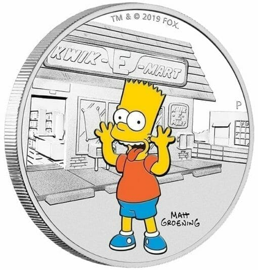 2019 The Simpsons - Bart Simpson 1oz .9999 Silver Proof Coin 3