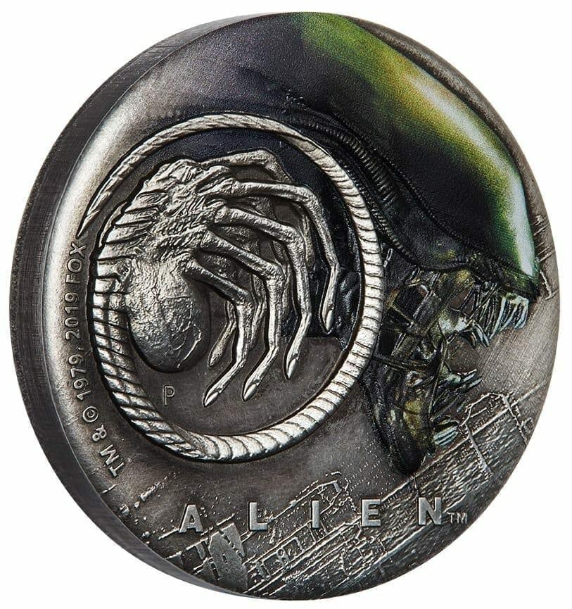 2019 Alien 40th Anniversary 2oz Silver Antiqued Coin 3