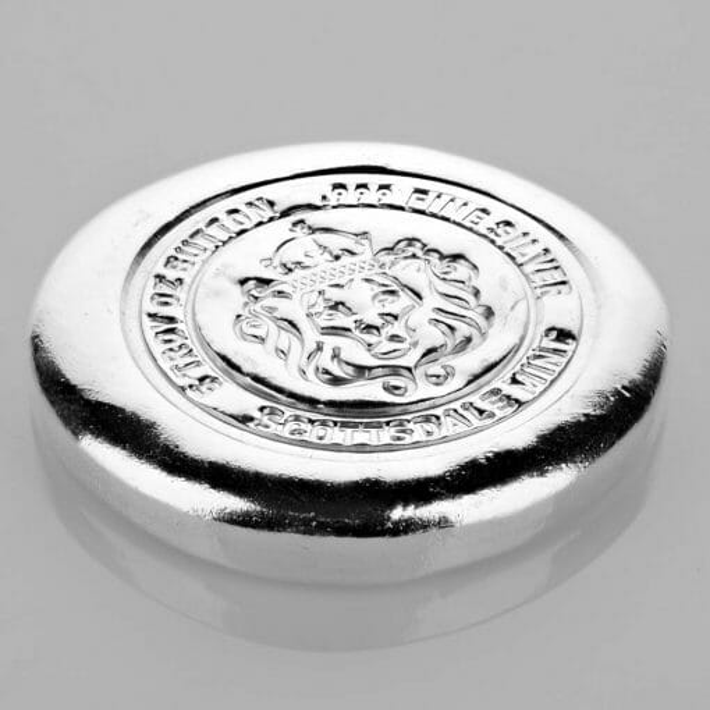 Scottsdale 5oz Round Silver Bullion Button 3