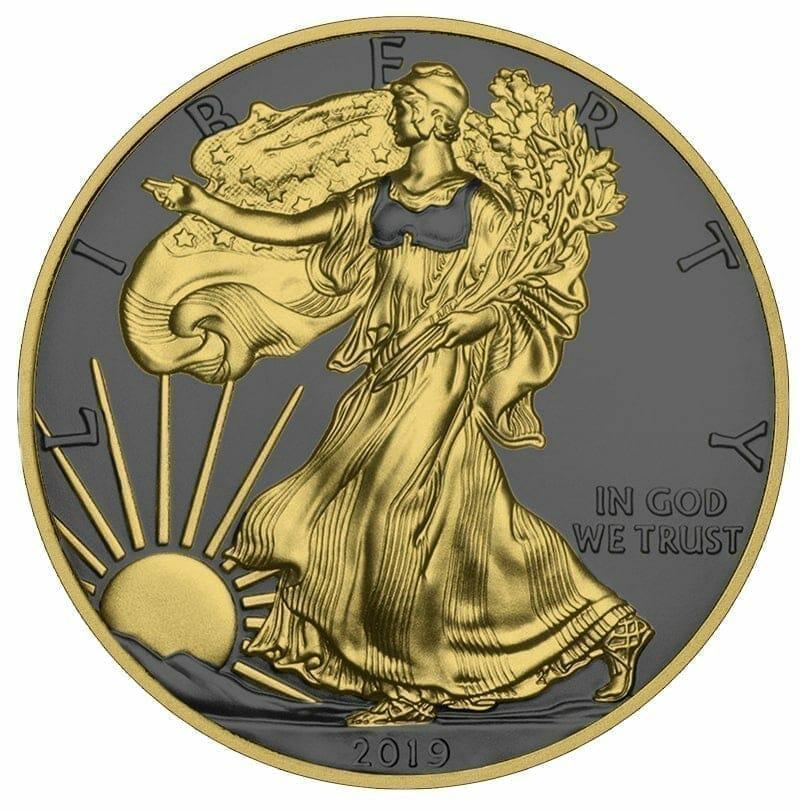 2019 American Silver Eagle 1oz Silver Coin - Golden Ring Edition 1