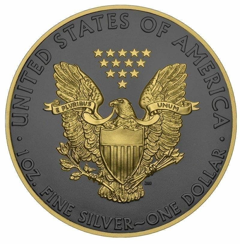 2019 American Silver Eagle 1oz Silver Coin - Golden Ring Edition 2