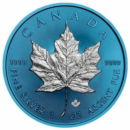 2019 Maple Leaf 1oz Silver Coin - Space Blue Edition 1