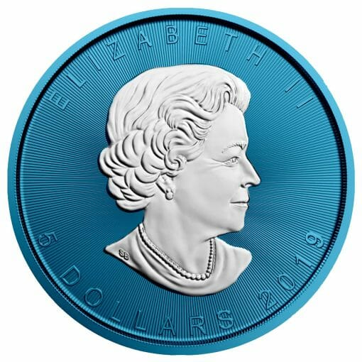 2019 Maple Leaf 1oz Silver Coin - Space Blue Edition 2