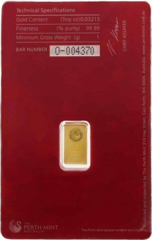 Perth Mint Oriana 1g Gold Minted Bullion Bar - Red Security Card 2
