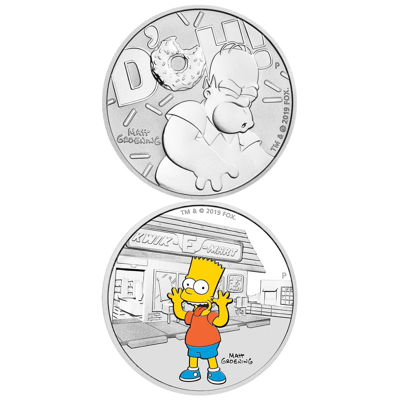 2019 The Simpsons - Bart & Homer 2 Silver Coin Set - Coloured 1oz & 1oz Bullion 1