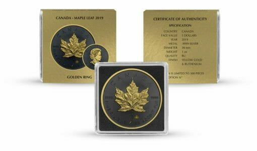 2019 Maple Leaf 1oz Silver Coin - Golden Ring Edition 3