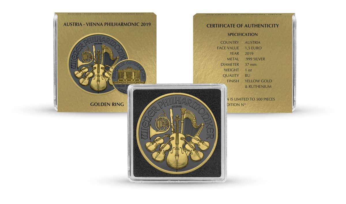 2019 Austrian Philharmonic 1oz Silver Coin - Golden Ring Edition 3