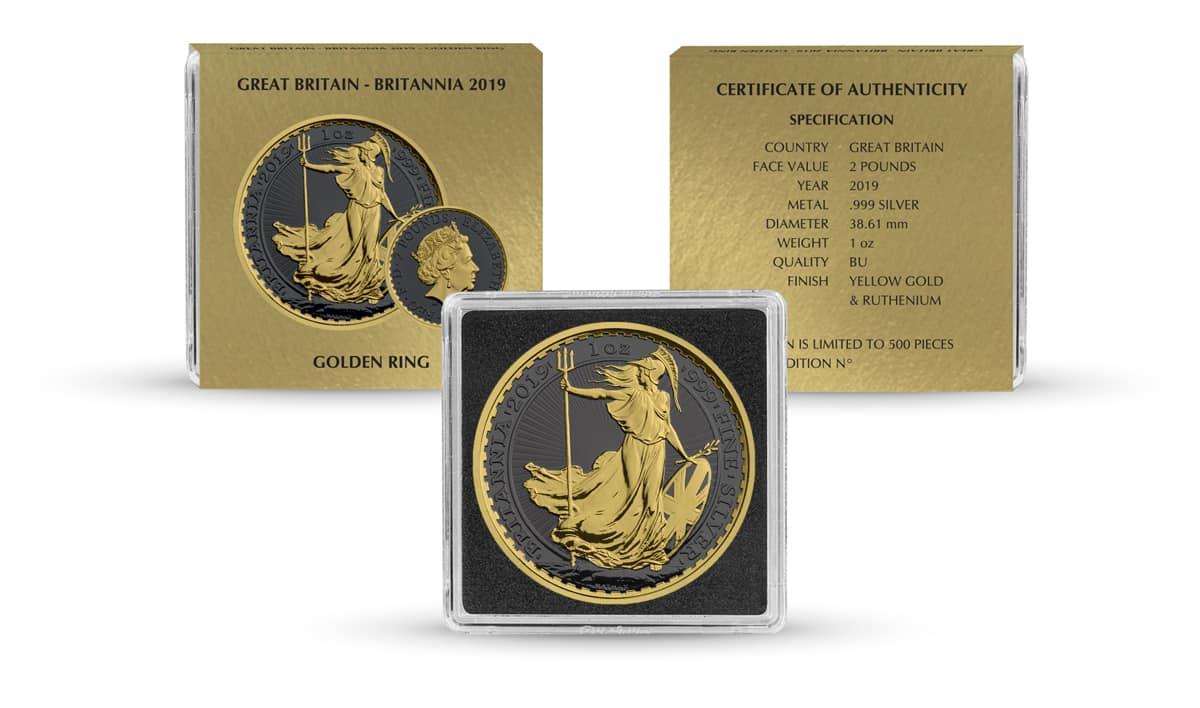 2019 Britannia 1oz Silver Coin - Golden Ring Edition 3