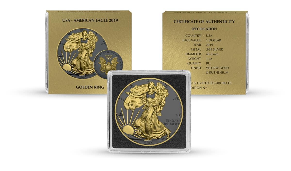 2019 American Silver Eagle 1oz Silver Coin - Golden Ring Edition 3