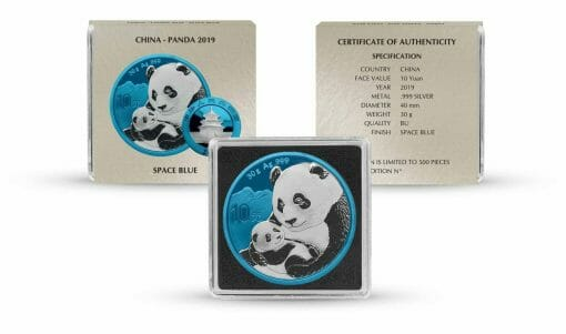 2019 Chinese Silver Panda 30g Silver Coin - Space Blue Edition 3