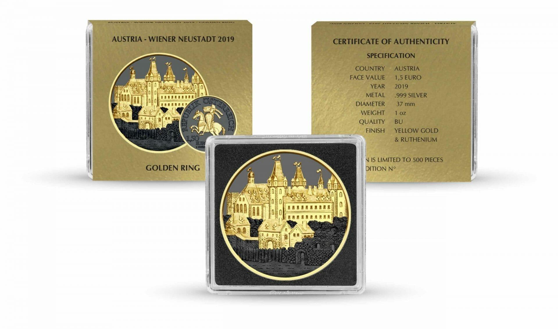 2019 Austrian Wiener Neustadt 1oz Silver Coin - Golden Ring Edition 3