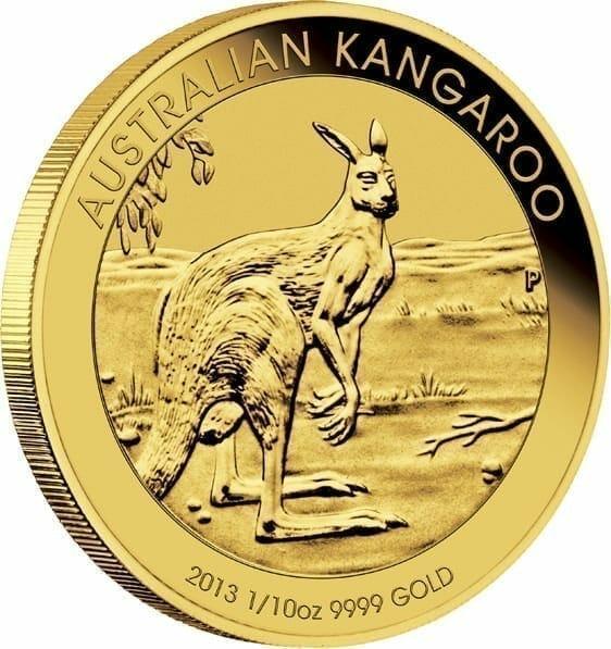 2013 Australian Kangaroo 1/10oz .9999 Gold Bullion Coin 2
