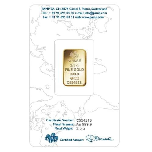 Lady Fortuna 2.5g .9999 Gold Minted Bullion Bar - PAMP Suisse 5
