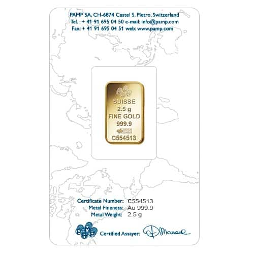 Lady Fortuna 2.5g .9999 Gold Minted Bullion Bar - PAMP Suisse 2
