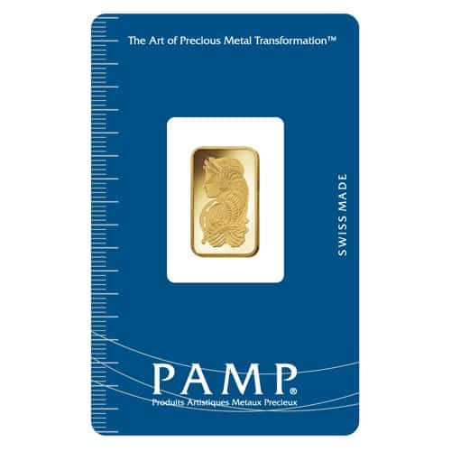 Lady Fortuna 2.5g .9999 Gold Minted Bullion Bar - PAMP Suisse 1