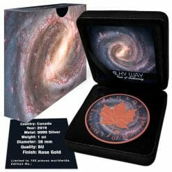 2019 Milky Way Maple Leaf Gilded 1oz .9999 Silver Coin 4